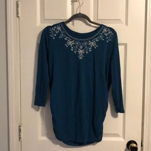 Embroidered long sleeve maternity knit top